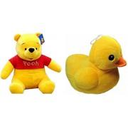 OYD Premium Quality Winnie The Pooh Soft Toy - Best on Amazon - 26 cm (Yellow) and Cute Teddy Duck Stuffed Soft Plush Soft Toy - 26 cm (Yellow) - Combo Stuffed Toys Teddy Bear