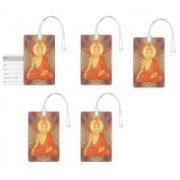 100yellow Luggage Tags- Lord Buddha Printed High Quality PVC Tag with Silicon Strap- Ideal For Travel-Pack Of 5 Luggage Tag(Multicolor)