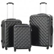 vidaXL Комплект твърди куфари с колелца, 3 бр, черни, ABS