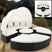 Ratanová zahradní postel ISLAND DEU XXL max černá 230cm
