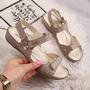 HELIOS 205 skórzane beżowe sandały komfortowe - beżowy