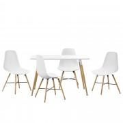 [en.casa] Set de comedor - mesa blanca 120 x 70 x 75cm + sillas blancas 85,5 x 46cm
