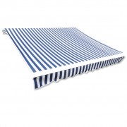 vidaXL Резервно платнище за сенник, синьо и бяло, 6 х 3 м.