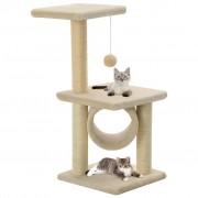 vidaXL Arbre à chat avec griffoirs en sisal 65 cm Beige
