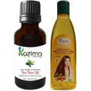 KAZIMA Combo of Tea Tree Oil (15ML) and Almond Herbal Hair Oil (100ML) Anti Hair Loss Treatment Maintains Healthy Scalp & Dandruff