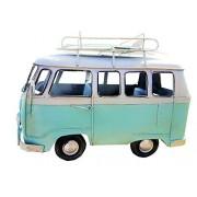 VINTAGE BEACH LOOK HANDDESIGNED METAL VW TEAL SURF BUS WITH SURFBOARDS ON TOP!!