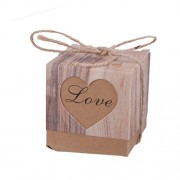 Imported 50pcs Kraft Brown Shabby Rustic Candy Gift Boxes with Rope Wedding Favor