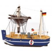 Geen Decoratie vissersboot blauw 14 cm