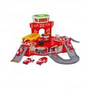 Set de joaca pentru copii, parcare cu masini de pompieri, masinute incluse, rampa de coborare, Heliport
