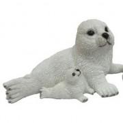 Merkloos Polystone tuinbeeld zeehond naast moeder 27 cm