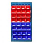 VIPA Sichtlagerkasten-Set - ohne Wandpaneel, für 2 Paneele mit HxB 480 x 500 mm - 16 x rot (1 l) + 16 x blau (1 l)