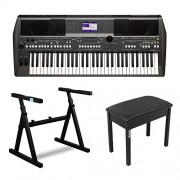 Yamaha PSRS670 61-Key Keyboard Production Station + Knox Z-Style Electronic Keyboard Stand + Bench