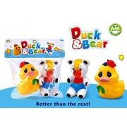 Metro Toys 2 PC Toddler Baby Bathtub Bathing Chu Chu Squeeze Bath Toys Non-Toxic BPA Free, Duck & Bear Chu Chu