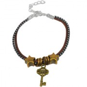 Sullery Key Charm Multicolour Leather Metal Bracelet For Men And Women