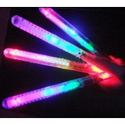"12 Pack Light Up Led Blinking Flashing Glow Wand Sticks (8"") Reusable Led Glow Sticks With Multicolor Setting Options Clear, Pink, And Blue Flashing Wands (4 Of Each Color) Great Halloween Props And Glow In The Dark Sticks"