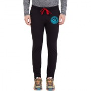 Cliths Men's Jet Black Slim Fit Zeep Printed Trackpant