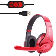 OVLENG Q8 Universal Stereo Headset with Mic & Volume Control Key for All Audio Devices Cable Length: 2m(Red)