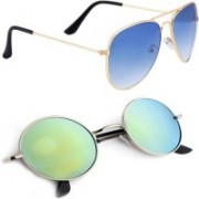 Phenomenal Aviator, Round Sunglasses(Blue, Green)