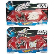 2 Pack StarShip & Star Wars Spaceship Set - Hot Wheels Millennium Falcon Tie Fighter & Ghost ship First Order 4 ships