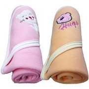 BRANDONN EXTRA LARGE Cute Hooded Side Boon Border Baby Blanket(PACK OF 2 28INCH X 36INCH)hellip