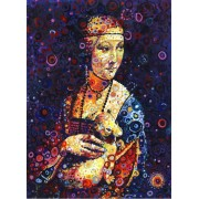 Puzzle Grafika - Leonardo Da Vinci: Lady with an Ermine, by Sally Rich, 300 piese (63597)