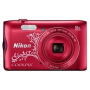 Nikon Aparat Coolpix A300 Czerwony z ornamentem + Karta 8GB + Pokrowiec