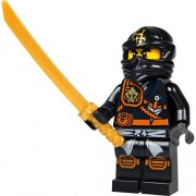 LEGO Ninjago Minifigure - Cole Zukin Robe (Black Ninja) with Gold Katana