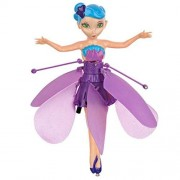 Rateim Cute Flying Fairy Doll Magic Infrared Induction Control Princess Dolls Beautiful Wings Flower Fairies Toy with Flashing Led Lighting Xmas (Purple)