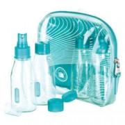 Go Travel Kosmetikflaschen Türkis Glasklar