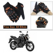 AutoStark Gloves KTM Bike Riding Gloves Orange and Black Riding Gloves Free Size For Yamaha FZ16