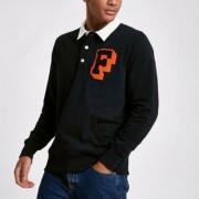 River Island Mens Franklin and Marshall Black rugby shirt - Size M (EU