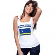 Bellatio Decorations Singlet shirt/ tanktop Curacao vlag wit dames