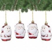 Set figurine decorative Mos Craciun pentru brad din plastic 4 buc