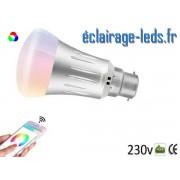 Ampoule LED B22 Smart Wifi dimmable 7w Blanc Chaud & Couleurs ref dm-17