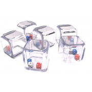 Custom & Unique {Big Large 25mm} 6 Ct Pack Set Of 6 Sided [D6] Square Cube Shape Playing & Game Dice Made Of Plastic W/ Rounded Corner Edges W/ Fun Crazy Miniature Design [Red, Blue, White & Black]