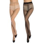 Neska Moda Women 2 Pair Nylon Black And Skin Panty Hose Stockings