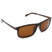 HRINKAR Men's Brown Mirrored Rectangular Sunglasses