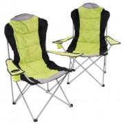 Sada 2 skladacích kempingových stoličiek - zelené