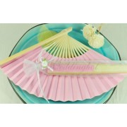 CLEARANCE SALE - Baby Pink Paper Hand Fan in Gift Bag