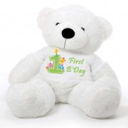White 5 feet Big Teddy Bear wearing a First Happy Birthday T-shirt