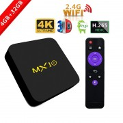 TV BOX MX10 4K KODI 17.4 Android 9 HDR Quad Core RK3328 4GB RAM DDR4 32GB ROM WIFI LAN VP9 HDMI USB Slot Card