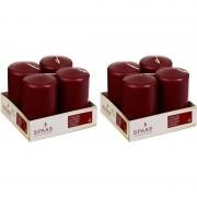 Candles by Spaas 8x Bordeaux rode cilinderkaars/stompkaars 5 x 8 cm 12 branduren