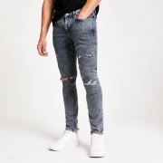 River Island Mens Grey wash ripped Sid skinny jeans (30S)