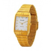 howdy Smart Analog White Dial Watch With Golden Stainless Steel Strap - For Men's Boys ss568