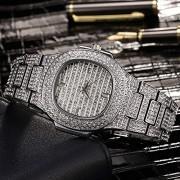 Lvzhaoxin Hip Hop para Hombre Reloj Bling Bing Iced out Diamond Watch Brazalete Aleación Alta Gama Calendario de Moda Big Circle Diamond Reloj de Cuarzo Resistente al Agua Oro/Oro Rosa/Plata