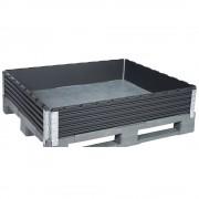 Kunststoffaufsatzrahmen, VE 2 Stk für Industriepalette 1200 x 1000 mm diagonal klappbar, mit 4 Scharnieren