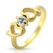 Arany színű szíves nemesacél gyűrű cirkónia kővel-6