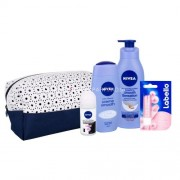 Nivea Smooth Care Kit 250ml за Жени - душ гел 250 ml + антиперспирант Invisible For Black & White Clear 50 ml + лосион за тяло 400 ml + Labello Pearly Shine 4,8 g + чанта За усещане на свежест