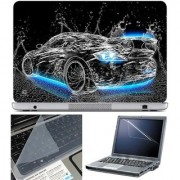 Finearts Laptop Skin Car Water Blue On Bottom With Screen Guard And Key Protector - Size 15.6 Inch