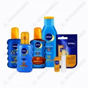 Pachet (5 produse) Nivea Sun, Lotiune de plaja, Ulei de protectie, Spray, Crema hidratanta copii si Balsam de buze